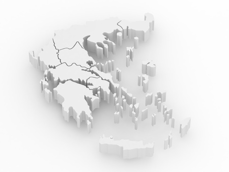 three objects: Three-dimensional map of Greece on white isolated background. 3d
