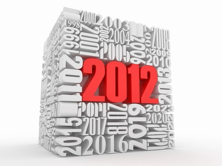 New year 2012. Cube consisting of the numbers. 3d photo