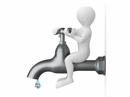 tap with water: Men and tap on white isolated background. 3d