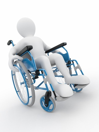 paralysis: Men on wheelchair on white isolated background. 3d