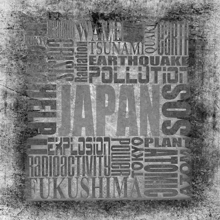 fukushima: Tragedy in Japan. Abstract text dirty background.