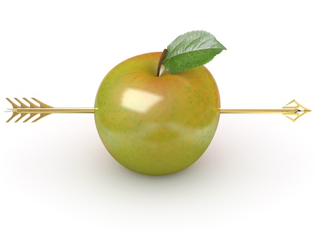 shaft: Arrow through apple on white isolated background. 3d