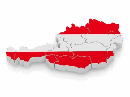 Map of Austria in egyptian flag colors. 3d Stock Photo - 9353110