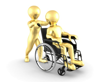 accessible: Men on wheelchair on white isolated background. 3d