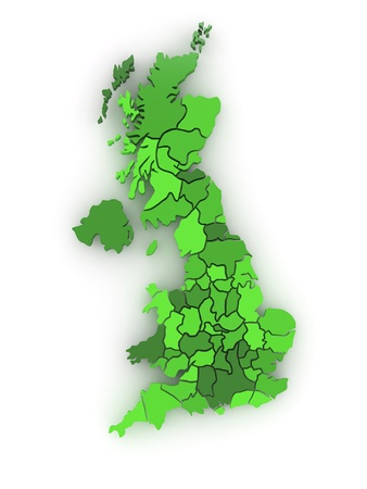 regions': Three-dimensional map of Great Britain on white isolated background. 3d