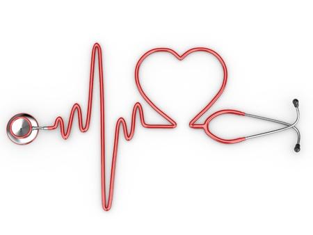 Estetoscopio y una silueta del corazón y ECG. 3D
