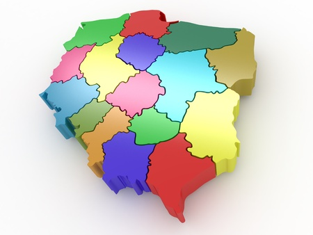 extruded: Three-dimensional map of Poland on white isolated background. 3d