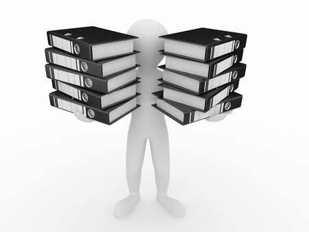 stack of files: Men with folders on white isolated background. 3d