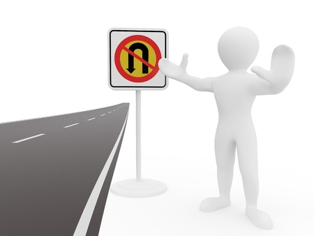 men with No U Turn road sign. 3d photo