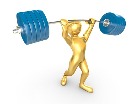 sports symbols metaphors: Men with barbell on white isolated background. 3d Stock Photo