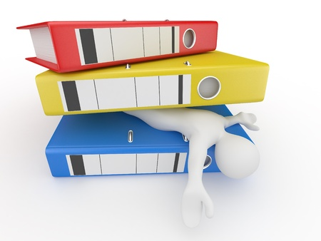 Men with folders on white isolated background. 3d photo