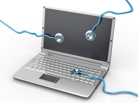 Service voor laptop reparatie. Laptop met een stethoscoop. 3d