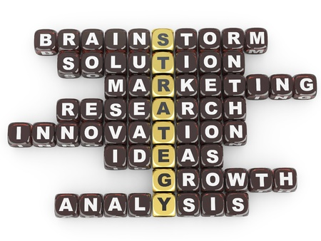 Conceptual image of strategy. Crossword fromblocks with letters. 3d Stock Photo - 9456717