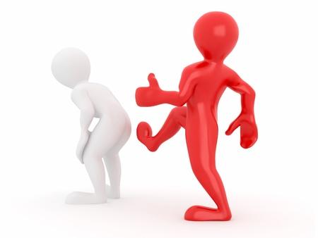 patada: Patada motivaci�n el culo sobre fondo blanco aislado. 3D