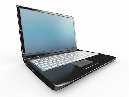 pc: Opened laptop on white isolated background. 3d
