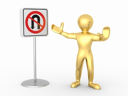 men with No U Turn road sign. 3d Stock Photo - 9456657