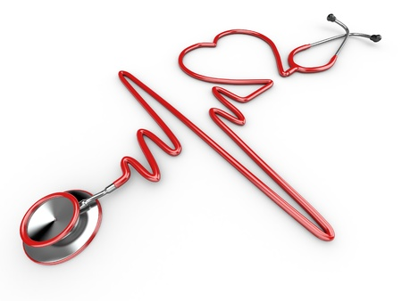 cardiogram: Stethoscope and a silhouette of the heart and ECG. 3d