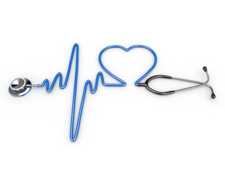 Stethoscope and a silhouette of the heart and ECG. 3d photo