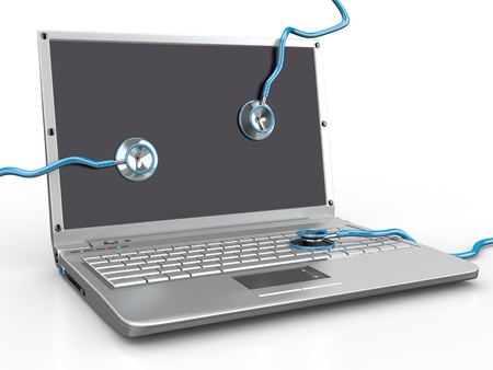 Service for laptop repair. Laptop with stethoscope. 3d photo