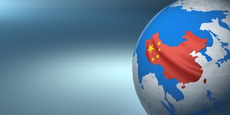 Map of the China on Earth in the national colors. 3D Stock Photo - 9478100