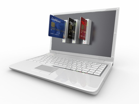 E-commerce. Laptop and credit card on white isolated background. 3d Stock Photo - 9478081