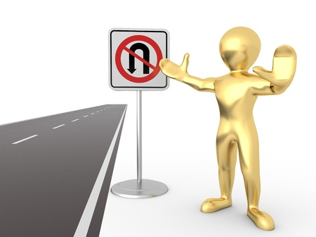 men with No U Turn road sign. 3d Stock Photo - 9478085