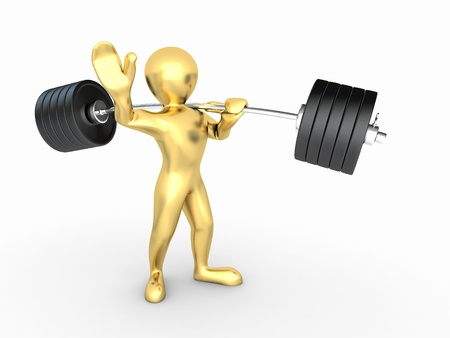 Men with barbell on white isolated background. 3d photo