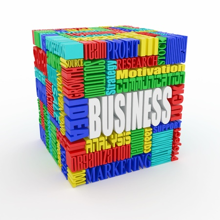 carrer: What is a business. The concept of the words on white isolated background. 3d