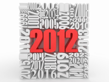number twelve: New year 2012. Cube consisting of the numbers. 3d Stock Photo