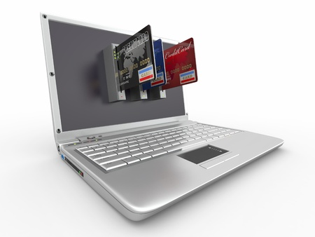 E-commerce. Laptop and credit card on white isolated background. 3d Stock Photo - 9543643
