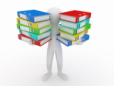 stack of documents: Men with folders on white isolated background. 3d