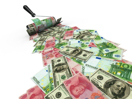 whitewash: Roller brush with dollar, euro and yuan. 3d