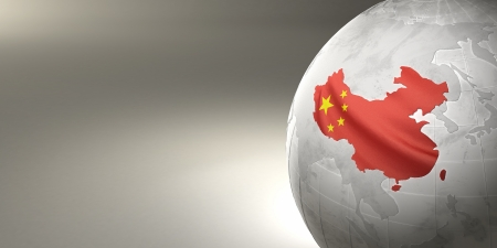 maps globes and flags: Map of the China on Earth in the national colors. 3D Stock Photo