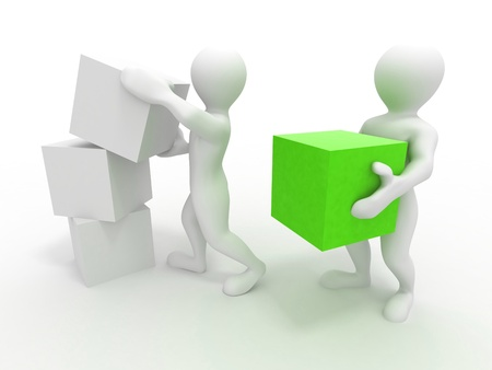 red cube: Men with boxes. Conceptual image of teamwork. 3d Stock Photo