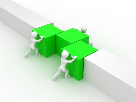 cube puzzle: Men with boxes. Conceptual image of teamwork. 3d Stock Photo