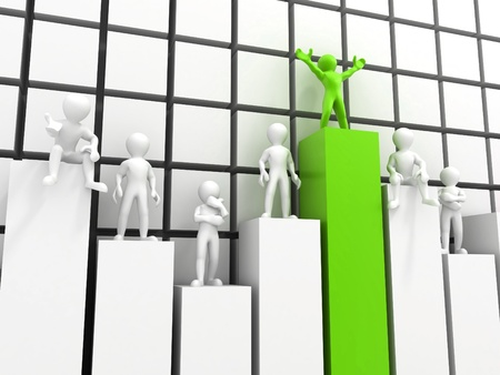 people standing on different levels of the chart. 3d Stock Photo - 9557288