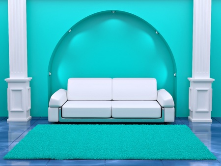 Inteiror. Sofa between the columns in blue room. 3d Stock Photo - 9557316