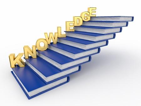 Conocimiento de la palabra en libros como escalera. 3D Foto de archivo - 9557313