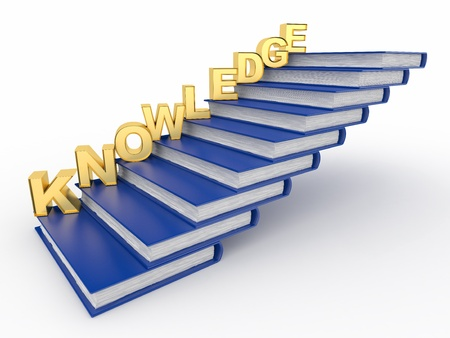 Word knowledge on books as staircase. 3d photo