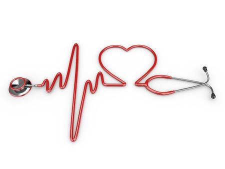 elettrocardiogramma: Stetoscopio e una silhouette del cuore ed ECG. 3d