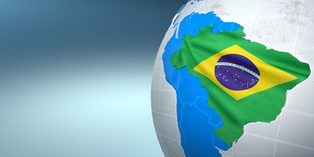 maps globes and flags: Map of the Brazil on Earth in the national colors. 3d