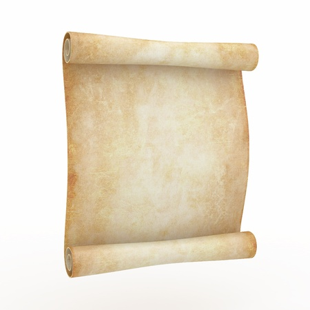 ancient relics: Vintage aged papyrus on white isolated background. 3d