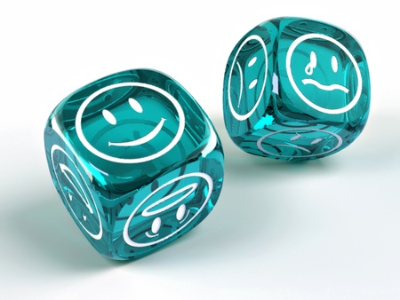 dice: Dice with different emotions on faces on white isolated background. 3d