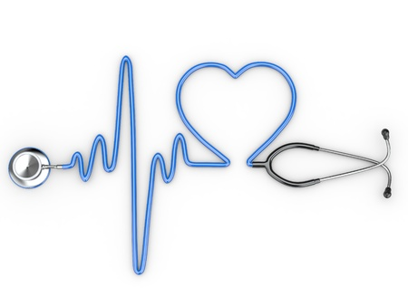 electrocardiogram: Stethoscope and a silhouette of the heart and ECG. 3d