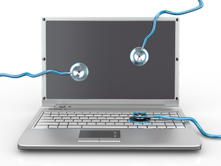 Service for laptop repair. Laptop with stethoscope. 3d Stock Photo - 9661296