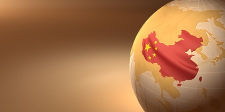 geographical locations: Map of the China on Earth in the national colors. 3D Stock Photo