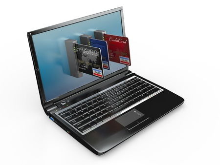 sell online: E-commerce. Laptop and credit card on white isolated background. 3d