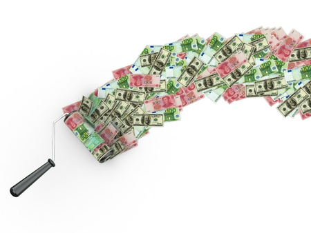 Roller brush with dollar, euro and yuan. 3d Stock Photo - 9661360