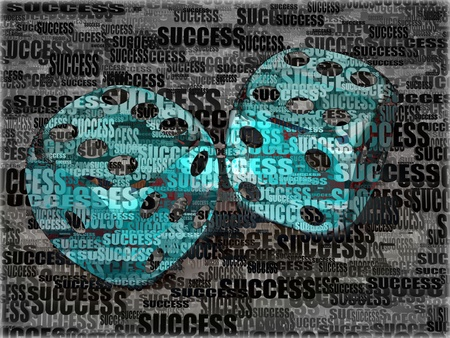 Dice on background frow words success. 3d photo