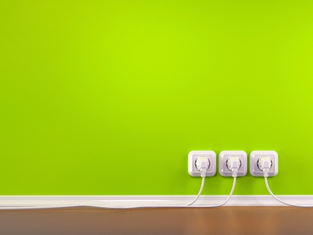 Plugs and Socket. Three-dimensional abstract background. 3d Stock Photo - 9661305